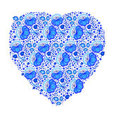 Heart in floral ornament in Gzhel style. Russian folklore Stock Image