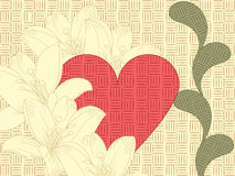Heart, floral ornament,  and lily Royalty Free Stock Photography