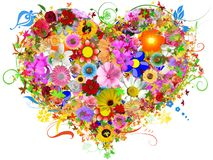 Heart floral shape Stock Photos