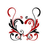 Heart flores. Red black heart flores pattern isolated on white background Stock Images