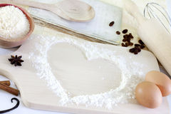 Heart of the flour baking background Royalty Free Stock Photo