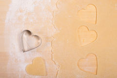 Heart with flour and dough Stock Photo