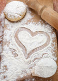 Heart of flour Royalty Free Stock Photos