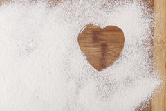 Heart in Flour Stock Photo
