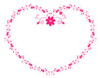 Heart flower. Illustration drawing of pink flower heart board in white background Royalty Free Stock Photos