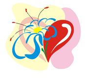 Heart with a flower. With blue petals Stock Photo