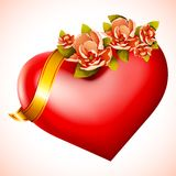 Heart with Flower. Vector illustration of heart iwth flower in golden ribbon Stock Images