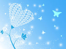 Heart Flower Blue Background. EPS 10 Vector Royalty Free Stock Image