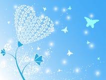 Heart Flower Blue Background. EPS 10 Vector Stock Illustration
