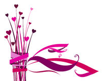 Heart flower with bow. Drawing of beautiful heart shape flower with bow Stock Photo