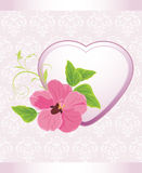 Heart with flower on the decorative background Stock Photos