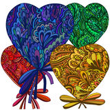 Heart of the flower elements. Different colors and original floral elements Stock Image