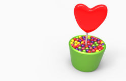 Heart flower growing in the pot Royalty Free Stock Photo