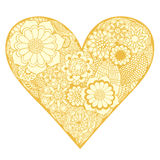 Heart of flower. Hand drawn Heart of golden flower doodle background. Vector illustration Royalty Free Stock Photography