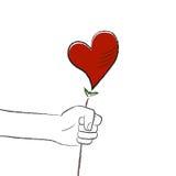 Heart flower. Hand to heart flower illustration vector Royalty Free Stock Images