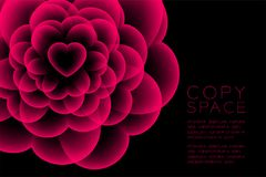 Heart flower X-ray symbol, love concept design illustration. Pink color isolated glow in the dark background, with copy space Stock Photo