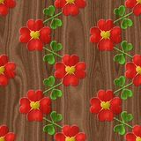 Heart flower seamless relief painting on generated wood texture Royalty Free Stock Image