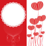 Heart flower shape on red and white card Royalty Free Stock Image