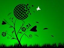 Heart flower silhouette green background. EPS 10 Vector Royalty Free Illustration