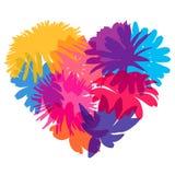Heart of flower silhouettes. stock illustration