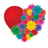 Heart with flowers stock photos