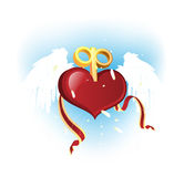 Heart Flowers. Heart with wings and winder Stock Photography