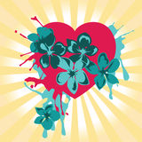 Heart and flowers. Colorful symbol of love and tenderness Royalty Free Stock Image