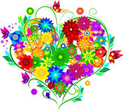 Heart with flowers. The bright colors of the heart Stock Photos