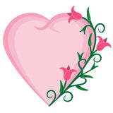 Heart and flowers. Illustration of heart shaped frame with flowers along edge. EPS8 vector file also available Stock Photography