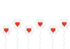 Heart flowers. On white background Stock Images