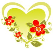 Heart and flowers Stock Photos