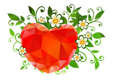 Heart and flowers background Royalty Free Stock Images