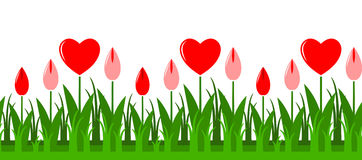 Heart flowers border Stock Images