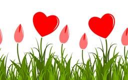 Heart flowers border Stock Photo