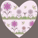 Heart with flowers&butterfly Stock Image