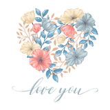 Heart Flowers Card Royalty Free Stock Image