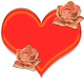 Heart and Flowers Clip Art Royalty Free Stock Image