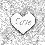 Heart on flowers for coloring books for adult or valentines card Royalty Free Stock Photography