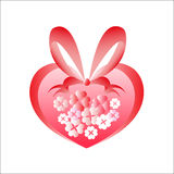 Heart from flowers. Entwined by a ribbon and a bow Royalty Free Stock Images