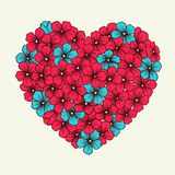 Heart with flowers in graphic style retro pink and Stock Images