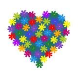 Heart of flowers,  illustration. Heart of colorful flowers,  illustration Stock Photography