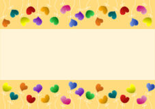 Heart flowers invitation card border Stock Images