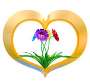 Heart with flowers and leaves Stock Image