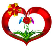 Heart with flowers and leaves Royalty Free Stock Photo