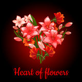 Heart of flowers lilies on a dark red background Royalty Free Stock Images