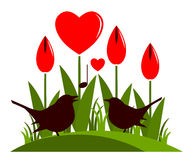 Heart flowers and love birds Royalty Free Stock Photo