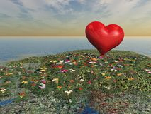 Heart and Flowers over Lake. A plump heart on a Island of flowers Stock Photo