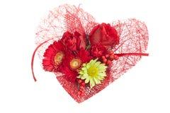 Heart Flowers over white Stock Photos