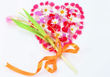 Heart of flowers and petals. Royalty Free Stock Images