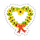 Heart flowers ribbon bow decorative Royalty Free Stock Images